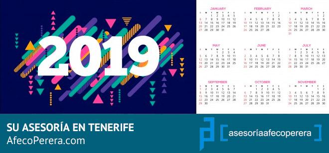 Calendario Laboral Tenerife 2019.Calendario Laboral 2019 Canarias Asesoria Afeco Perera Tenerife Sur